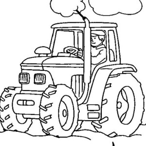 Farmer Working With Tractor Coloring Page