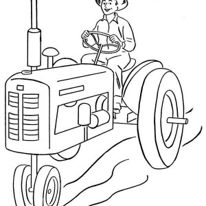 Farmer And Tractor Coloring Page