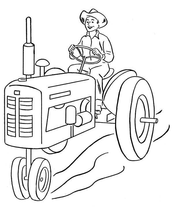 Farmer And Tractor Coloring Page Download Print Online Coloring - Farm-tractor-coloring-pages