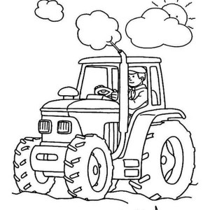 Farmer And Tractor In Daylight Coloring Page