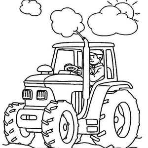 Farmer Is Working Tractor Coloring Page
