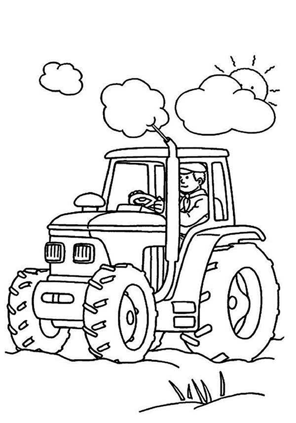 Farmer Is Working Tractor Coloring Page - Download & Print ...