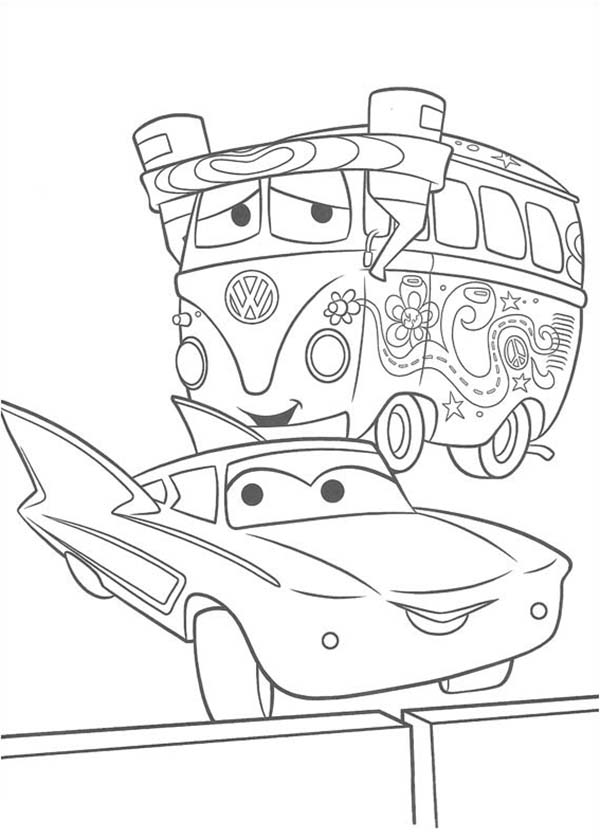 Fillmore And Flo From Disney Cars Coloring Page Download