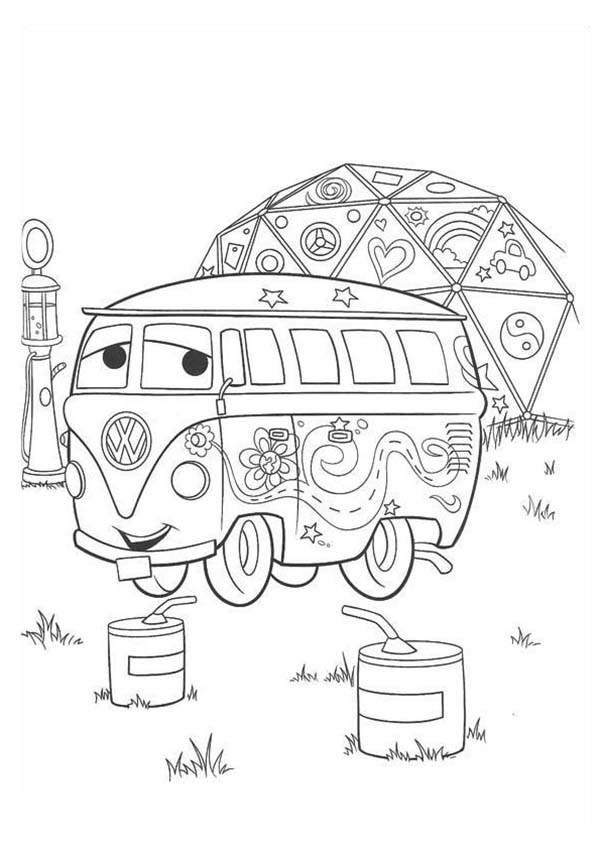 fillmore from disney cars coloring page download amp print