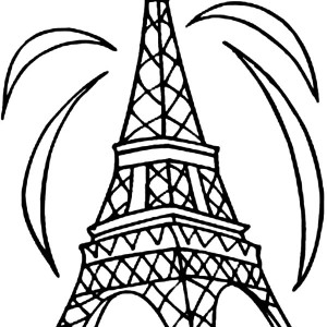 Fireworks And Eiffel Tower Coloring Page