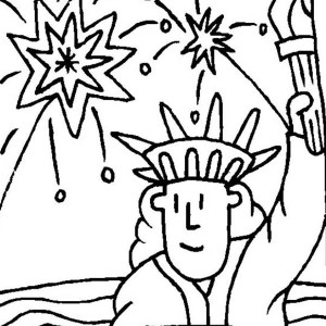 Fireworks And Statue Of Liberty Coloring Page