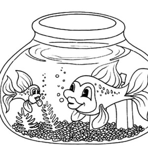 Fish With Long Tail In Fish Bowl Coloring Page