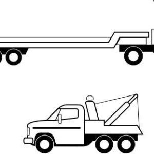 Flatbed Truck In Semi Truck Coloring Page