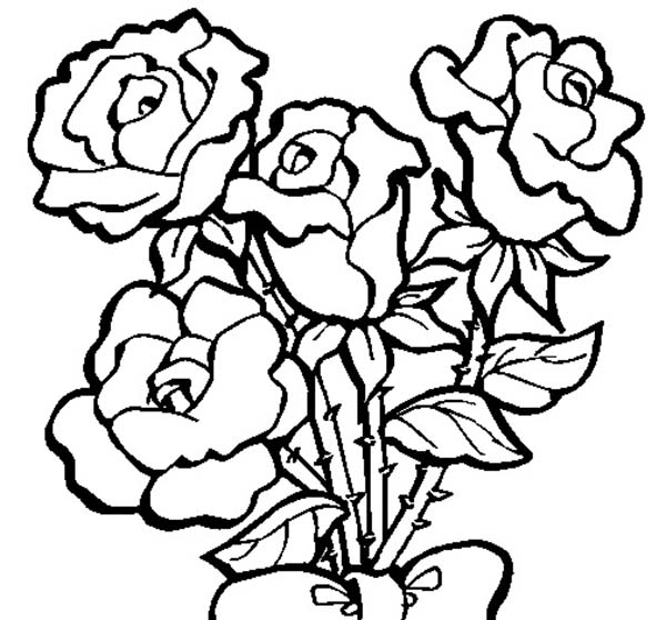 Four Roses In Rose Coloring Page - Download & Print Online Coloring ...