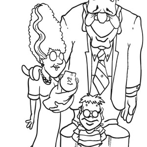 Frankenstein Family Coloring Page