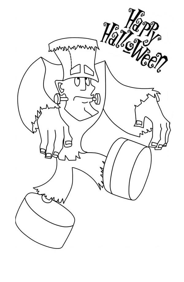 Frankenstein Going For Walk Coloring Page Download