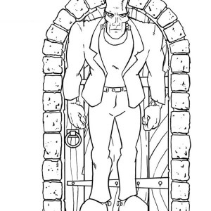 Frankenstein In Front Of The Door Coloring Page