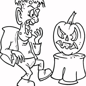 Frankenstein Is Scared Of Pumpkin Coloring Page