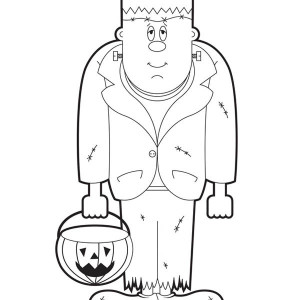 Frankenstein With Pumpkin Lamp Coloring Page