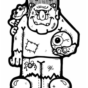 Frankenstein With An Eye Ball Coloring Page