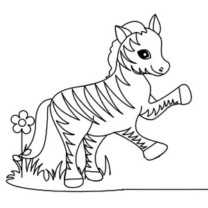 Funny Little Zebra Coloring Page