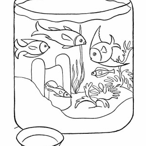 Goldfish In Fish Bowl Coloring Page