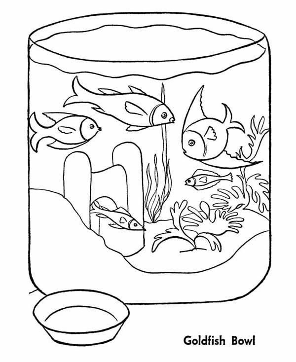 Goldfish In Fish Bowl Coloring Page - Download & Print ...