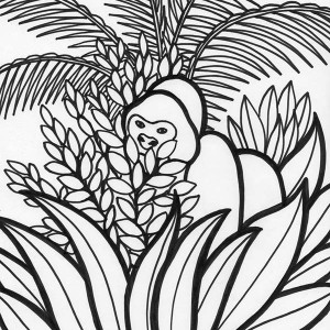 Gorilla Rainforest Animal Coloring Page