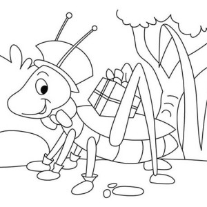 Grasshopper With Present Coloring Page