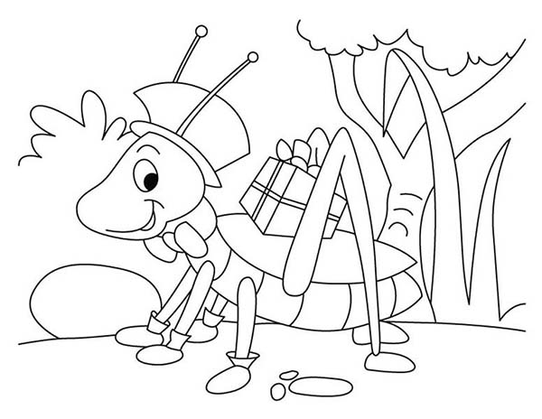 Grasshopper With Present Coloring Page - Download & Print ...