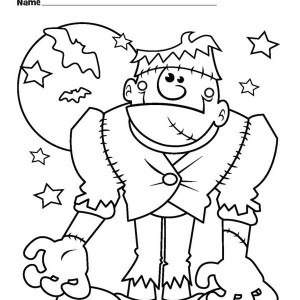 Halloween Monster Frankenstein And Bats Coloring Page