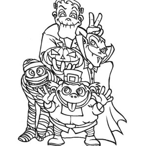 Halloween Monsters And Frankenstein Coloring Page