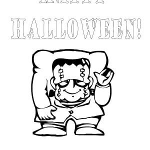 Happy Halloween Frankenstein Coloring Page