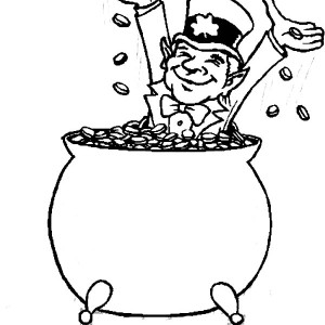 Happy Leprechaun Bathe In Coins Inside A Pot Of Gold Coloring Page