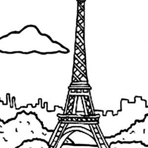 Holiday In Eiffel Tower Coloring Page