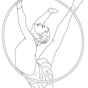 Hoop Gymnastic Athlete Coloring Page