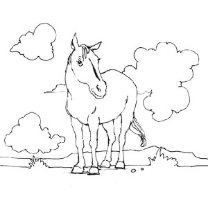 Horse And Clouds In Horses Coloring Page