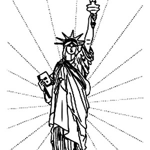 Independence Day In Statue Of Liberty Coloring Page