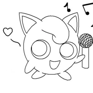 Jigglypuff Holding Microphone Coloring Page