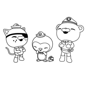 Kwazii And Peso And Captain Barnacles Laughing Together In The  Octonauts Coloring Page
