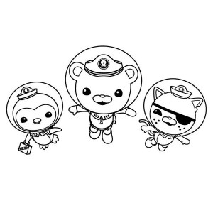 Kwazii And Peso And Captain Barnacles Swimming In The Octonauts Coloring Page
