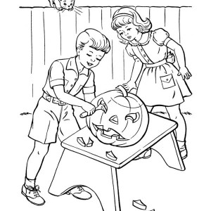 Learn To Carving Pumpkins Coloring Page