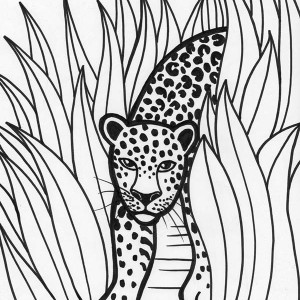 Leopard Rainforest Predator Coloring Page