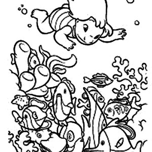 Lilo Diving In Hawaiian Reefs In Lilo & Stitch Coloring Page