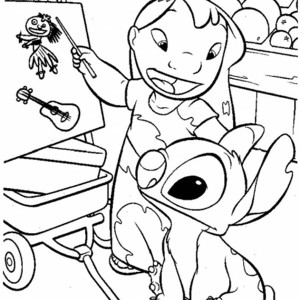 Lilo Teach Stitch In Lilo & Stitch Coloring Page