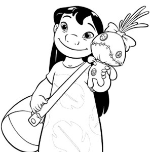 Lilo With Bag And A Doll In Lilo & Stitch Coloring Page