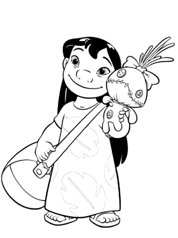 Lilo With Bag And A Doll In Lilo Amp Stitch Coloring Page