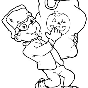 Little Frankenstein With Bag Full Of Candy In Frankenstein Coloring Page