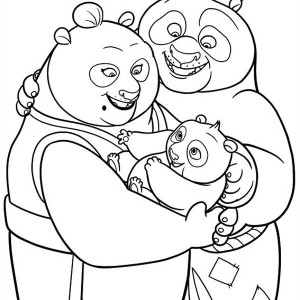 Little Po With His Parent In Kung Fu Panda Coloring Page