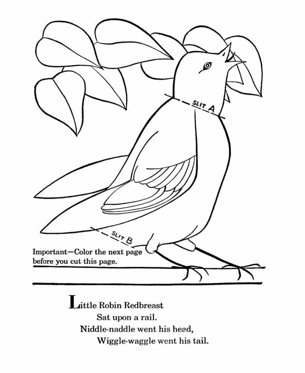 Little Robin Redbreast Coloring Page - Download & Print ...