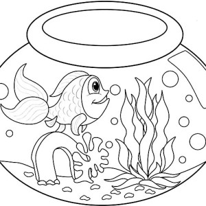 Long Tailed Fish In Fish Bowl Coloring Page