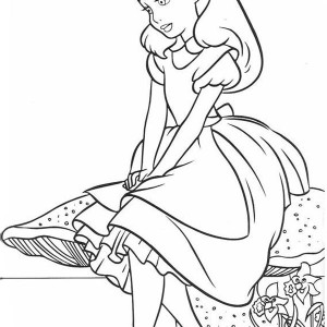 Lovely Alice In Wonderland Coloring Page