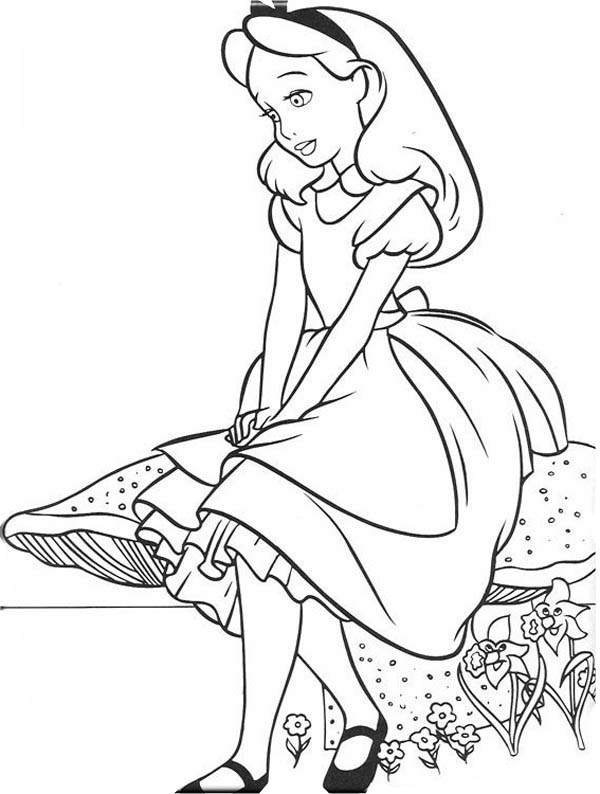 Lovely Alice In Wonderland Coloring Page Download Print Online