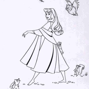 Lovely Princess Aurora Dance In Front Of Her Friends Coloring Page