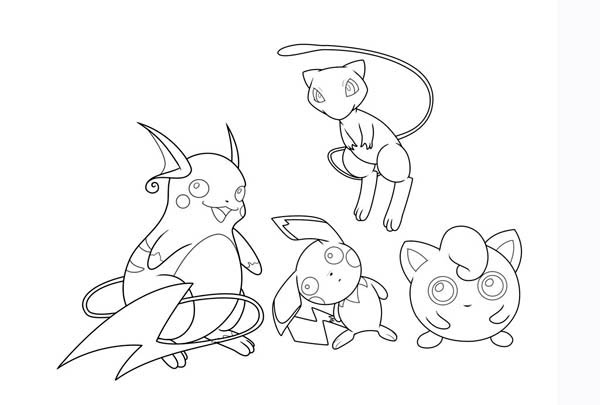 Mew And Jigglypuff And Pichu And Raichu Coloring Page Download